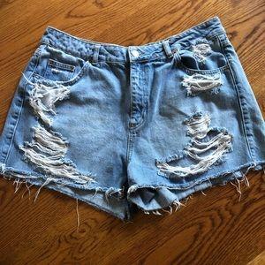 {topshop} moto mom jean shorts